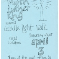 Martin Luther King Memorial Candle Light walk flyer, 1971