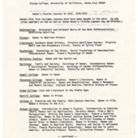 Listing of women's studies courses at UCSC: 1970-1975.