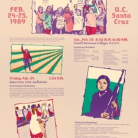 """Celebrating Women: Twenty Years of Victories, Setbacks, and Challenges Ahead."" Panel featuring Adrienne Rich, Grace Paley, Holly Near, Paula Gunn Allen, Lucille Clifton, Gloria Anzaldua and Bettina Aptheker. Poster, February, 24-25 1989."