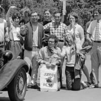 UC Santa Cruz student strike: students blocking traffic. 1969.