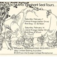 Kresge College Año Nuevo elephant seal tour flyer. Circa 1980s.