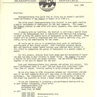 Outreach letter to Deaf community for signed performance of The Tempest, 1984