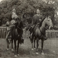 S.H. (Harry) Cowell with his cousin Edith Cowell Lane at the Santa Cruz Ranch