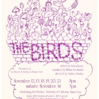 """""""The Birds"""" poster. Performing Arts Theater. Directed by Audrey Stanley. Circa 1970s."""