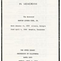 In memoriam: Martin Luther King program. April 8, 1968.