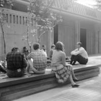 Page Smith, founding provost of Cowell College, with students. Circa 1966