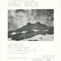 Chancellor Angus Taylor slide presentation. Poster. Circa 1976.