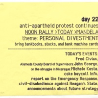 Anti-apartheid Protest Day 22. Flyer. May 1985.