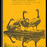 Cover of course reader for Environmental Studies 120A, Wildlife Conservation, Spring 1988. Assembled by Raymond Dasmann.