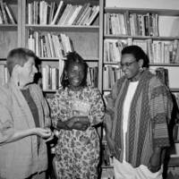 Women's Studies Library dedication at Kresge College: Bettina Aptheker, Akasha Hull, and Carolyn Martin Shaw. 1993.