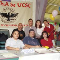 Chicano Latino Activities Center reception at Stevenson College: M.E.Ch.A. information table. 2000.