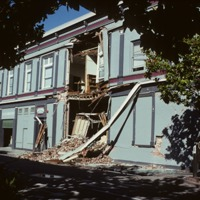 Loma Prieta Earthquake. Hihn Building (1201 Pacific Avenue) damage, Lincoln Street, Santa Cruz, California. 1989.