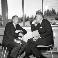 University of California, Santa Cruz, dedication events: presentation of the Preliminary Master Physical Plan to the regents, at the First Congregational Church social hall on High Street: Franklin Murphy, chancellor of UCLA, with Regent William Forbes of Los Angeles. 1964.