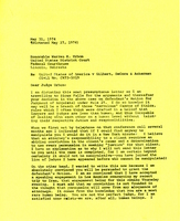 John Thorne to Judge Urbom, Consolidated Wounded Knee Cases (1974)